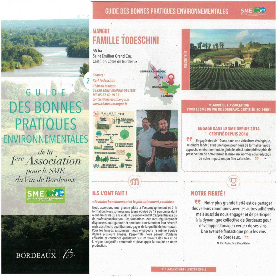 Château Mangot dans le Guide des bonnes pratiques environnementales du SME !