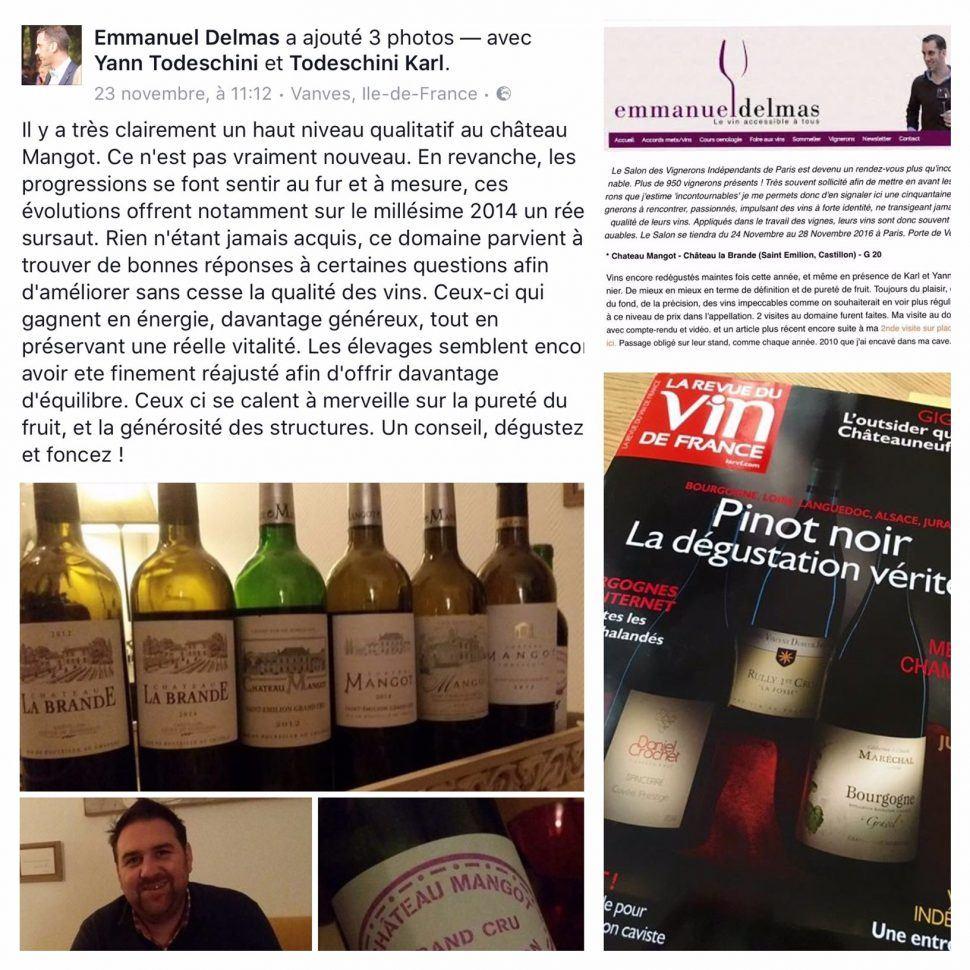 Château Mangot mis à l'honneur par Emmanuel Delmas et la RVF!