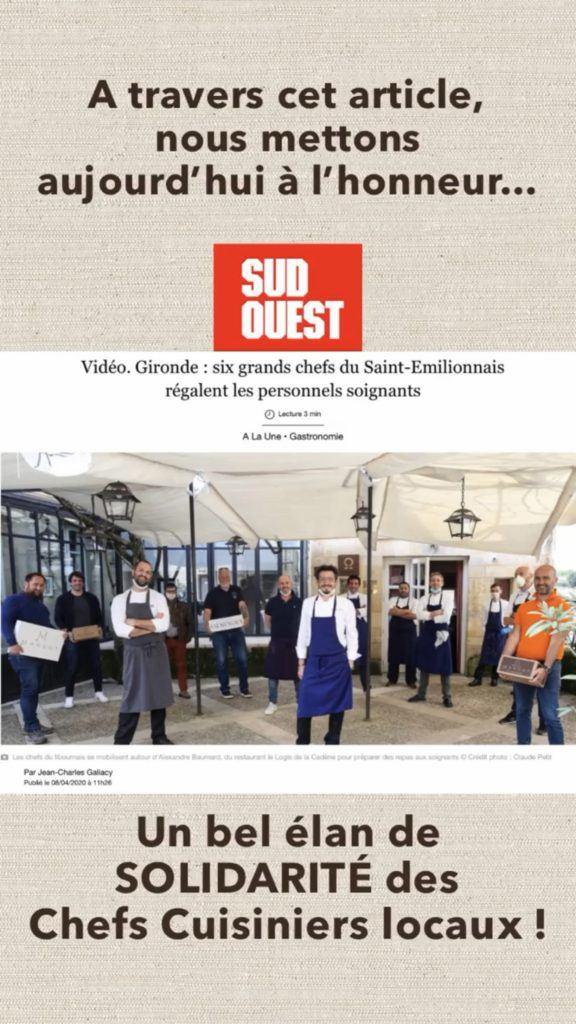 Un élan de solidarité des Chefs Cuisiniers du Saint-Émilionnais !